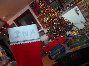 Meine Kaminsocke und unser Weihnachtsbaum